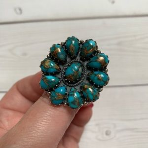 Copper infused turquoise flower ring